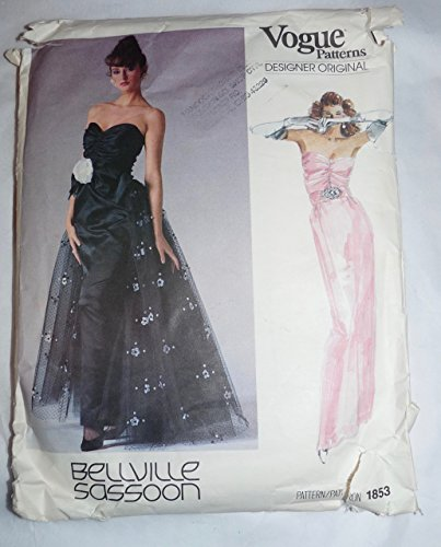 vogue-bellville-sassoon-1853-designer-original-dress-pattern-1987-sz-12