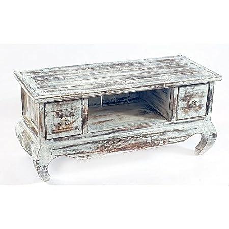 Mueble de tv con dos cajones y patas opium de madera reciclada