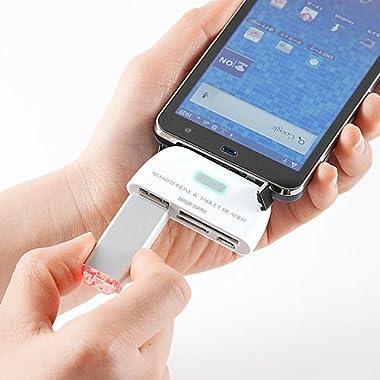 Android対応カードリーダー SDカード USBメモリ スマートフォン タブレットPC 対応 ホワイト 400-GADR002W