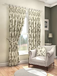 """Modern Fresh Mocha Cream Floral Leaf Curtains Lined Pencil Pleat 66"""" X 54"""" #asor from PCJ SUPPLIES"""