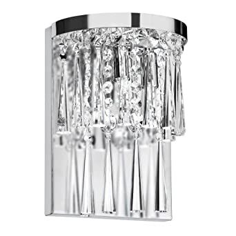 Dainolite JOS-7-2W 2-Light Crystal Wall Sconce, Polished Chrome ...
