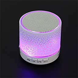 Bluetooth Speaker, Wireless Handsfree Speakerphone with USB2.0 Micro SD Card Slot 3.5mm Audio Built-in Coloured LED Lights Mic Bass Subwoofer for Smartphone and All Bluetooth Player (White)