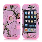 Super Spiderman Fashion Vivid Twig Branch Print New Dual Layer Protection ( PC + Silicone ) Hybrid Back Case Cover for Apple iPod Touch 4 4th Generation with Logo Cutout - Inner Pink