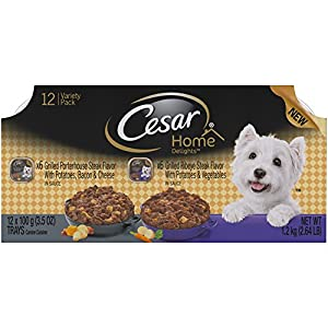 Cesar Home Delights Porterhouse Steak & Ribeye Steak Variety Pack Wet Dog Food (12 Count), 13.2 oz