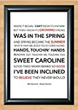 Neil Diamond 'Sweet Caroline' Lyrical Song Print Poster Art A4 Size (Typography)