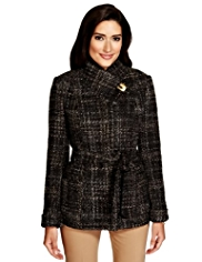 Per Una Italian Fabric Funnel Neck Tweed Belted Jacket with Wool