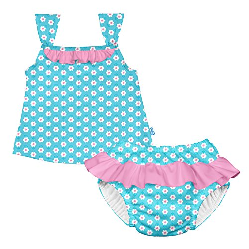 I play. Baby Girls' Ruffle Tankini Set with Swim Diaper, Aqua Daisy, 18 Months