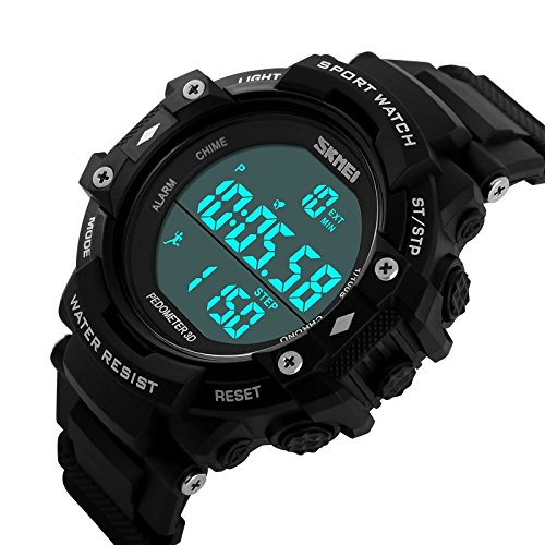 Craffords – SKMEI 1128 – Water Proof Diving Watches with Pedometer Functions – Black Dial – For Men & Women (Unisex)