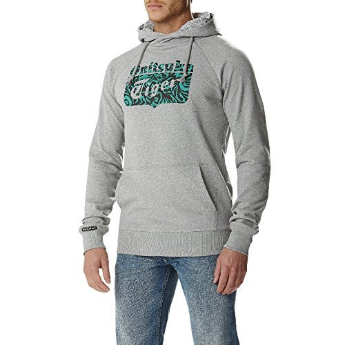 Onitsuka Tiger Felpa con Cappuccio Logo Core Hoodie, Heather Grey
