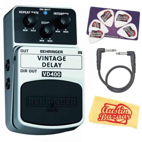 Behringer Vd400 Vintage Analog Delay Effects Pedal Bundle With Patch Cable, Pick Card, And Polishing Cloth