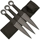 Ace Martial Arts Supply Ninja Stealth Black Throwing Knives with Nylon Case (Set of 3)