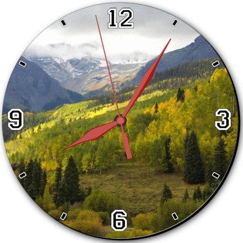 """Autumn Dallas Colorado Forest View 10"""" Quartz Plastic Wall Round Clock Classic Analog Setting Customized Inch Hand Needle Msd Made To Order Support Ready Dial Time Personalized Gift Battery Operated Accessories Graphic Designed Model Hd Template Wallpaper"""