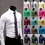(Omen Next)オーメンネクスト 無地 胸ポケットなし スリム フィット タイプ メンズ ワイシャツ!! 【シリコン細ブレスレット付き オリジナルセット】タイト スタイリッシュ カッターシャツ(ビジネス フォーマル きれいめ カジュアル )