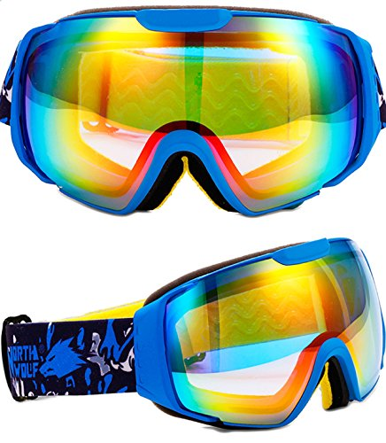 ATTOL® HOT Snowmobile Snowboard Skate Goggles Angle Dual Lenses Ski Goggles Men Women 1NW856 blue