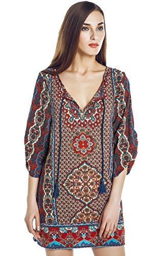 Women Bohemian Neck Tie Vintage Printed Ethnic Style Summer Shift Dress (Large, Pattern 11