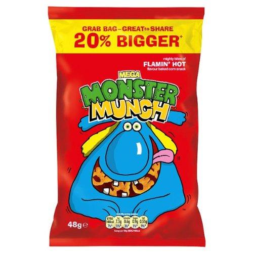 Mega Monster Munch Flamin 'Hot Geschmack Gebackene Mais Snack 48g (Packung mit 30 x 48g)
