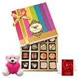 Valentine Chocholik Premium Gifts - Sweet Sensation Of Dark And White Truffles And Chocolate Box With Teddy And...
