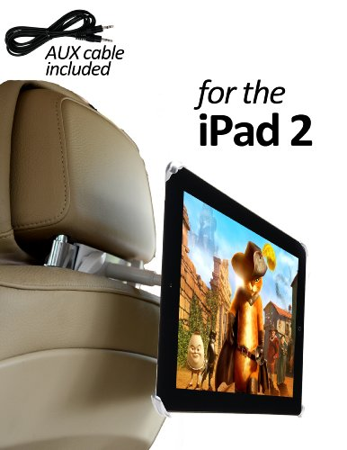 DBTech Car Headrest Mount with 3.5mm AUX Cable for iPad 2