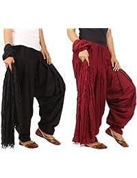 Jaipur Fashion Hub Product Combo Of Black & Maroon , 2 Indian Readymade Patiala Salwar Dupatta Set