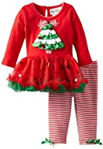 Rare Editions Baby Baby-girls Newborn Christmas Tree Tutu Legging Set, Red, 6 Months