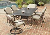 Home Styles 5564-315 Covington 7-Piece Dining Set with Table and Cushioned Swivel Chairs, Chocolate Metallic Finish