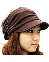 Women Girl Fashion Design Drape Layers Beanie Rib Hat Brim Visor Cap