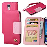 Galaxy S4 Case,By HiLDA,Wallet Case,PU Leather Case,Credit Card Holder,Flip Cover Skin,Case for Samsung Galaxy i9500[Rose]