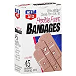 Rite Aid Bandages, Flexible Foam, Assorted Sizes, 45 bandages