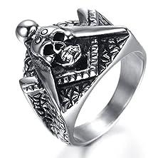 buy Hamany Jewelry Mens Stainless Steel Skull Freemason Masonic Ring,Silver Black,Size 10