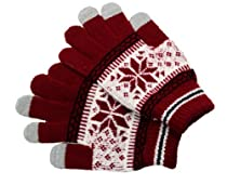 Touch Screen Gloves Snowflake Medium Red