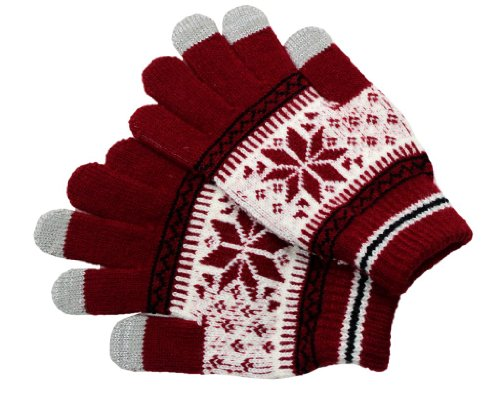 Touch Screen Gloves Snowflake Red L