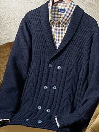 Paul Fredrick Men's 100% Cotton Cable Double-Breasted Cardigan Sweater Navy 4xl Tall