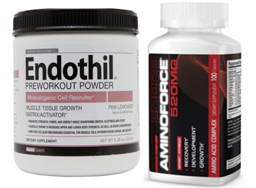 Novex Biotech Endothil Preworkout Powder, Pink Lemonade (9.28 Ounce) And Aminoforce (100Caps) Combo
