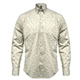 Relco Beige L/S Button Down Mod 60's 70's Retro Shirt With Floral Print S- XXL