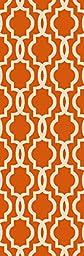 Custom Size Orange Fancy Moroccan Trellis Rubber Backed Non-Slip Hallway Stair Runner Rug Carpet 22 inch Wide Choose Your Length 22in X 11ft
