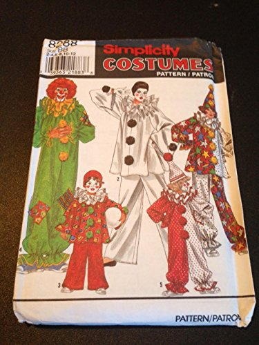 Simplicity 8288 Sewing Pattern, Boys' and Girls' Clown Costumes and Hat, Size BB (2-4,6-8,10-12) (Clown Costume Patterns)