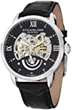 Stuhrling Original Men's 574.02 Executive II Automatic Skeleton Black Leather Band Watch