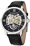 Stuhrling Original Mens 574.02 Aristocrat Executive II Automatic Skeleton Black Dial Watch