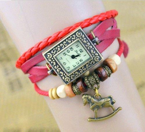 Kano Bak(Tm) Fashion Weave Wrap Around Press Button Leather Retro Bracelet Woman Girl Unisex Horse Pendant Wrist Gift Watch Red