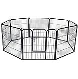 WOLTU HT2031m1 Welpenauslauf Absperrgitter Welpenzaun Freigehege Laufgitter Hunde Welpen 8 Elemente Metall 61x77cm