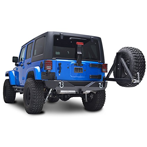 E-Autogrilles-07-16-Jeep-Wrangler-JK-Textured-Black-Heavy-Duty-Rock-Crawler-Rear-Bumper-with-Tire-Carrier-2-Hitch-Receiver-51-0315
