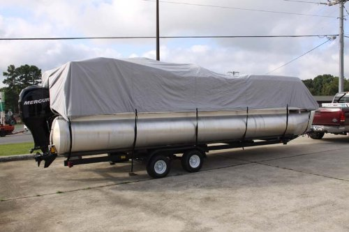 BRAND NEW GREY/GRAY ULTRA PONTOON BOAT COVER, BEST AVAILABLE, TRI-PURPOSE, FOR STORAGE, MOORING, OR TRAILERING, HAS ELASTIC AND STRAPS FITS 21 22 23 24 FT LONG