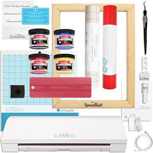 Silhouette CAMEO 3 Screen Print T-Shirt Starter Bundle with Speedball Screen Print Kit