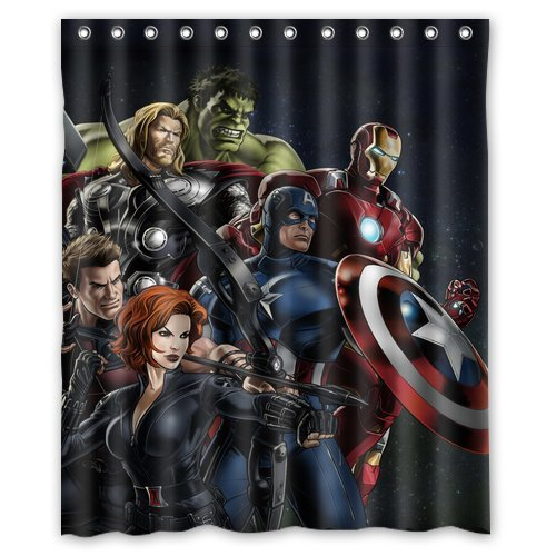Custom Unique Design Anime Superhero The Avengers Waterproof Fabric Shower Curtain front-602554