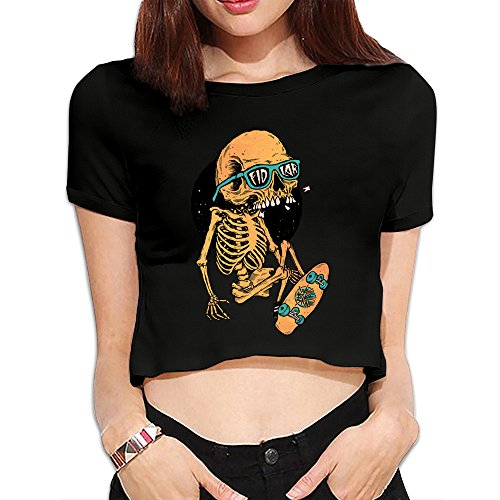 Women's Fidlar Band Logo Crop Top Navel T Shirt - Black
