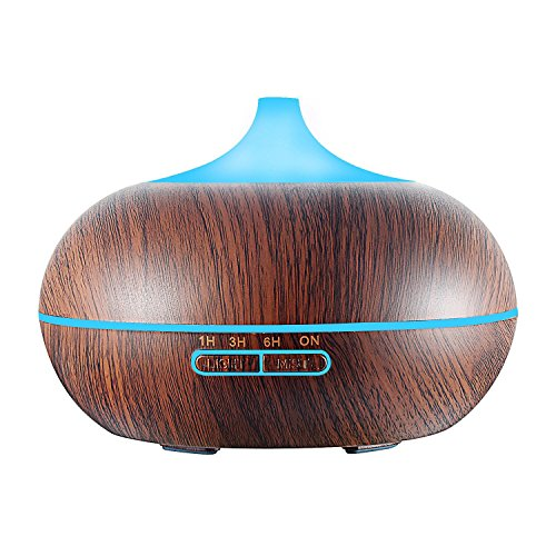 Ultrasonic Essential Oil Diffuser for Aromatherapy, GerTong 300ml Cool Mist Air Humidifier Purifier with 7 Color LED Lights Changing and Waterless Auto Shut-off (Dark Wood Grain) (Cool Air Essential Oil Diffuser compare prices)