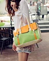 Hot Sale MDR Store Fashion Women's Faux Leather Handbag PU Totes Hobo Shoulder Bag Yellow Green