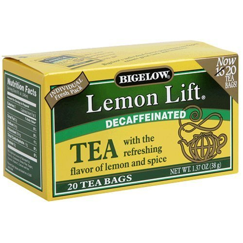 Bigelow Decaffeinated Lemon Lift Tea, 20-Count Boxes (Pack of 6)