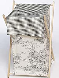 Sweet Jojo Designs Baby and Kids Clothes Laundry Hamper - Black French Toile