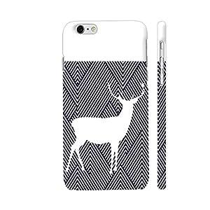 Colorpur White Reindeer On Diagonal Stripes Designer Mobile Phone Case Back Cover For Apple iPhone 6 plus / 6s plus | Artist: Adeela Abdul Razak